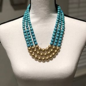 Jewelry - Triple layer light blue and gold necklace
